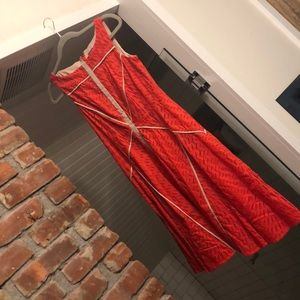 Vince Camuto red eyelet fit to flare dress